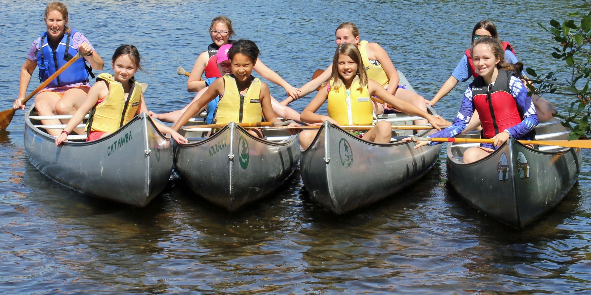 Whippoorwill  Campers and Counselor in Canoes on Lake