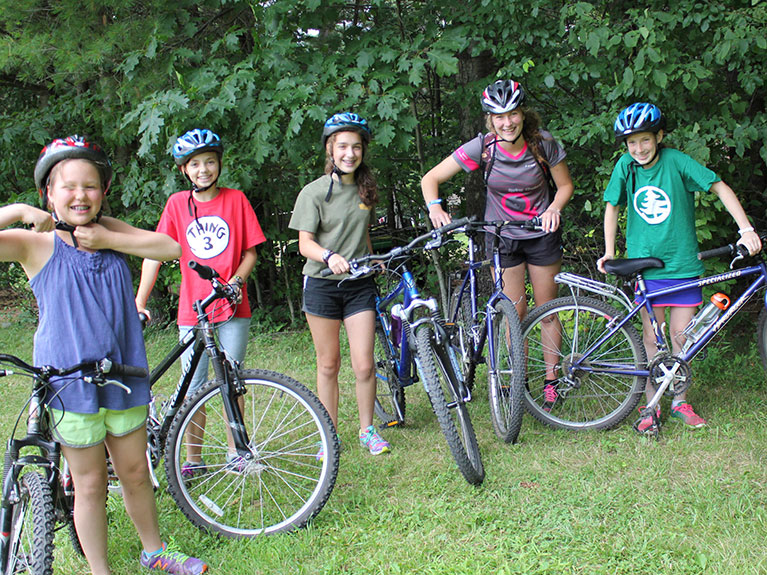 group of campers on bikes