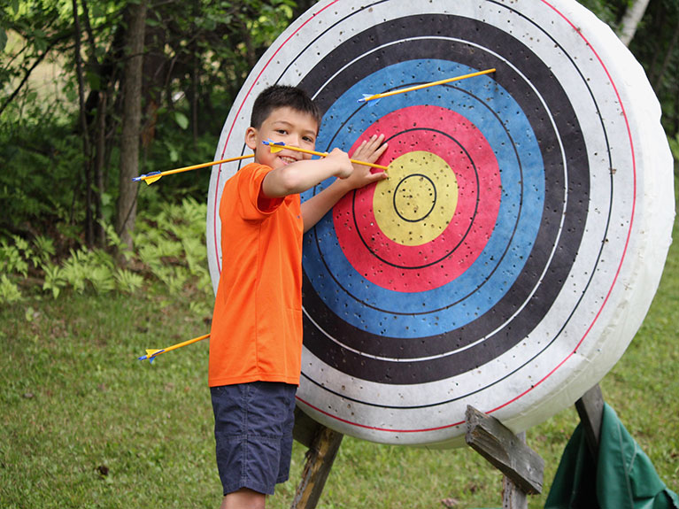 Boy at Archery target