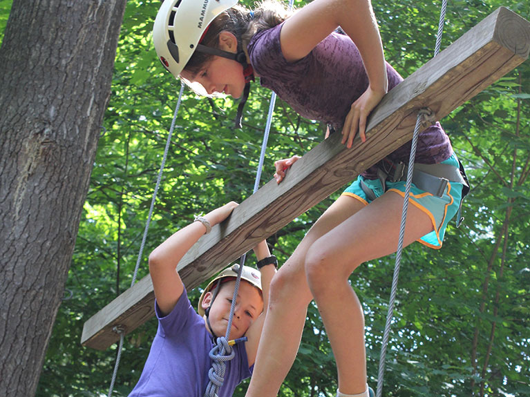 Girls on ropes course
